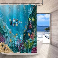 Marine Life in Deep Sea Shower Curtain Blue Nautical Bathroom Curtains 72X72''