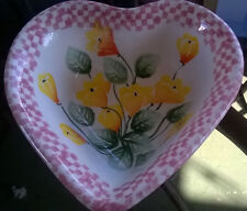 European Pottery Made in Italy Ceramic Heart Shaped Yellow/Pink Bowl by Ancora