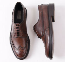 NIB $695 CANALI 1934 Brown Leather Brogued Wingtip Derby US 7 D Dress Shoes