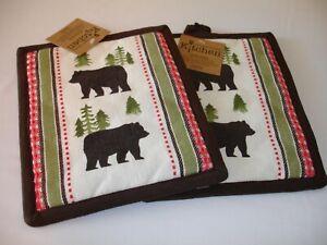 New! S/2 Modern Forest Bear Wildlife Black Bear Potholders Potholder Set Cotton