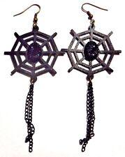 Black Spider Web Earrings cutout vinyl chain tassel Gothic Halloween spooky T3
