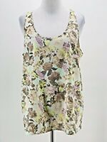 Frenchi Women's Beige Floral Print Sleeveless Scoop Neck Tank Blouse Size Large