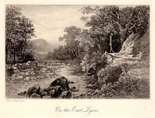 "WOW Alexander Ansted 1800s Original Etching ""East Lyn Valley, Devon"" SIGNED COA"