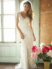 White/Ivory Mermaid Lace Bridal Gown Wedding dress Custom Size 6 8 10 12 14 16++