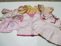 Baby Doll Clothes Dresses Top Smock Pink Hand Made Vintage Lot of 6 Pieces