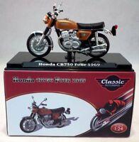 Atlas 1/24 Scale appx 6cms Honda CB750 Four 1969 Gold + Plinth Model Motorbike