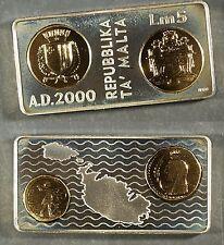 2000 Malta 5 Liri  Millenium SILVER  PROOF (gilt) - only 32,000 minted! $270 Cat
