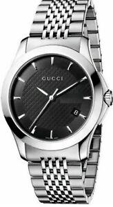 Gucci G-Timeless Black Dial Stainless Steel Bracelet YA126402 Men's Watch