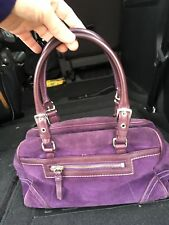 Vintage Coach Hamptons Suede Leather Satchel, Purple