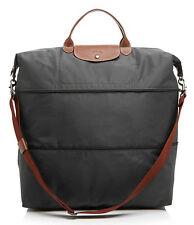 NEW $255 Longchamp Expandable Le Pliage Travel Bag Duffel Tote! Gunmetal