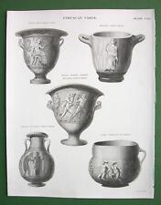 ETRUSCAN Vases Draco Ulysses - 1842 Antique Print Engraving