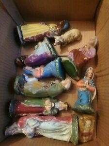 Krippenfiguren,antik, Pappmaché,Gips handgefertigt,handbemalt