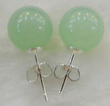 charm 10mm Jewelry Natural Light emerald jade & Silver Stud Earrings