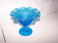 """ART GLASS  UNMARKED WESTMORELAND ? BLUE FROSTED COMPOTE 5 WIDE X 5""""  TALL"""