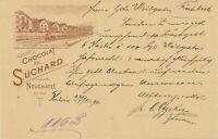 SCHWEIZ 1896 5 C GA m. 5 C. Zusatzfrankatur, selt. ABART: linker Rahmenlinie R!