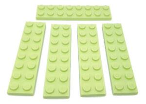 5 Stück Lego Platte 2x8 Yellowish Green, 3034 / 6216968 , Gelb-Grün, NEU