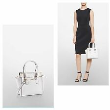 NWT calvin klein women saffiano leather small winged tote shoulder bag/white$198
