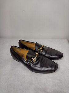 Men's 10.5 Gucci Jordaan 482467 Black Leather Gold Horsebit Loafers