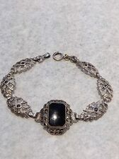 Antique Sterling Silver Art Deco Black Onyx And Marcasite Bracelet