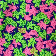 New Vintage Lilly Pulitzer Pink Green Falling Leaves Fabric Bty 3 Yards x 44