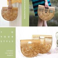 Borsa da donna in bambù con borsa da spiaggia in legno fatta a mano