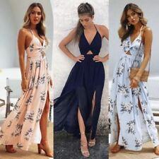 Women Maxi Long Dress Holiday Summer Evening Party Beach Slit Spilt Sundress Wom