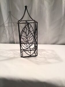 """Wrought Iron And Metal Candle Cover Leaf Motif 5x5"""" X14.5 Tall  Black No Candle"""