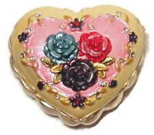 Floral Heart Ring Jewelry Box Trinket Box with Enamel Roses