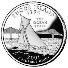 2001 S SILVER GEM PROOF RHODE ISLAND STATE QUARTER 90% SILVER