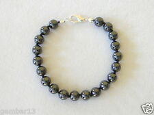 Natural Hematite Men's Bracelet 8mm Beads Hand Knotted Haematite Bracelet