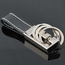 Hot 3 Loops Black Leather Strap Keyring Keychain Key Chain Ring Key Fob 84032