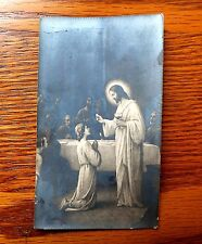 ANTIQUE BLACK & WHITE NEGATIVE PHOTO HOLY CARD JESUS GIVE COMMUNION TO APOSTLES