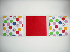 SET 3 HANDMADE YELLOW GREEN BABY PINK RED BLUE WHITE SPOTTED SPOTS WALL HANGINGS