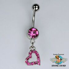 Heart Dangle Belly Ring Bar Pink Gemstone Encrusted Heart Navel Ring 14G (A25)