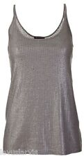Vince Paillete Sequin Cami Tank Top Size S $185 Pewter Rayon Poly Blend New