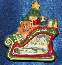 Thomas Kinkade Glitter Sleigh Porcelain Ornament New