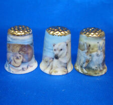 Birchcroft Thimbles -- Set of Three  -- Gold Top Polar Animals ( Make Offer )