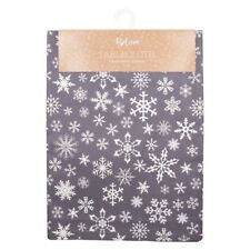Christmas Glitter Shimmer Metallic Snowflake Silver Table Linen Set for 4 People