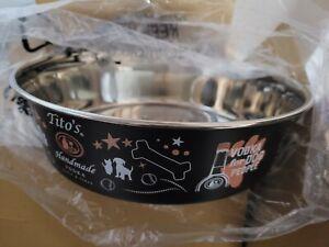 RARE Tito's Texas Handmade Vodka Dog Bowl 9 Inch NEW  free shipping