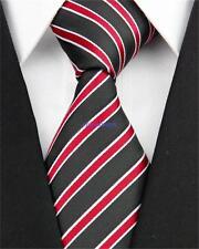 Negro Tejida a Mano 100% Puro Corbata De Seda con rayas blanco y rojo diagonal