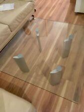 ronald schmitt design couchtisch glas metall 100x100 cm