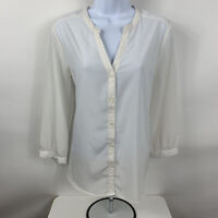 Old Navy Shirt Women's Size Medium Chiffon White Blouse Sheer Button Down V Neck