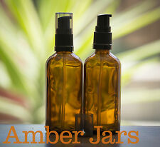 3 x 100ml Glass Amber Bottles with Gel/ Serum Pump. DIY Gels, liquid soap