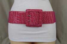 New Women Pink Faux Leather Wide Elastic Waistband Fashion Belt Plus Size M L XL