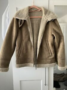 Zara Men's Brown Aviator Jacket Coat… Size Large