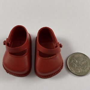 Pair of Vintage Cinderella 1950s Red Strap Doll Shoes Size 03 As New