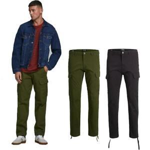 Jack & Jones Cargo Combat Trousers Men's Loose-Fit Stretchable Jeans Pants 28-36