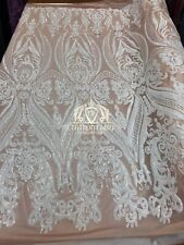 New White 4 Way Stretch Sequin Fabric Embroider On Blush Mesh Prom-Gown By Yard