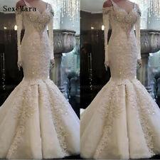 Luxury Crystals Appliques Mermaid Wedding Dress White/Ivory Custom Bridal Gown
