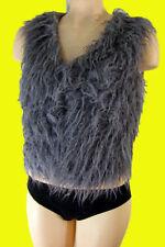 Mongolian lamb fur vest bolero s barbarian goth punk faux vegan mod hippie ski